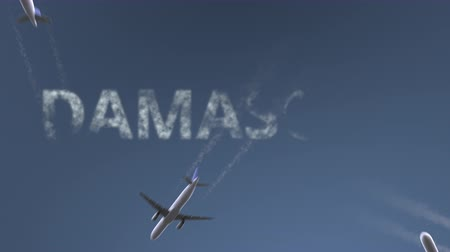 damasco : Flying airplanes reveal Damascus caption. Traveling to Syria conceptual intro animation