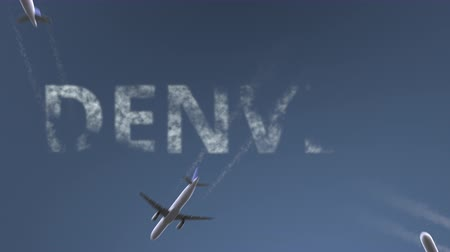 denver : Flying airplanes reveal Denver caption. Traveling to the United States conceptual intro animation