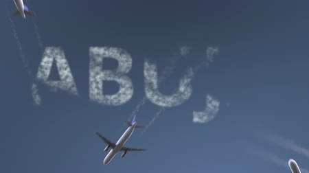 abuja : Flying airplanes reveal Abuja caption. Traveling to Nigeria conceptual intro animation