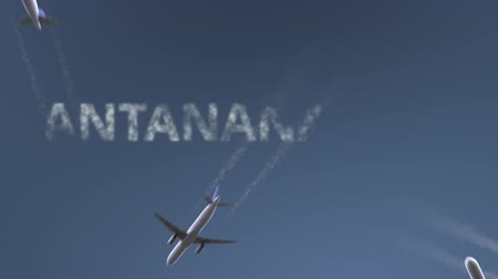 madagaskar : Flying airplanes reveal Antananarivo caption. Traveling to Madagascar conceptual intro animation Stok Video