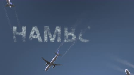 hamburg : Flying airplanes reveal Hamburg caption. Traveling to Germany conceptual intro animation