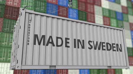 İsveççe : Cargo container with MADE IN SWEDEN caption. Swedish import or export related loopable animation Stok Video