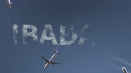 nigeria : Flying airplanes reveal Ibadan caption. Traveling to Nigeria conceptual intro animation