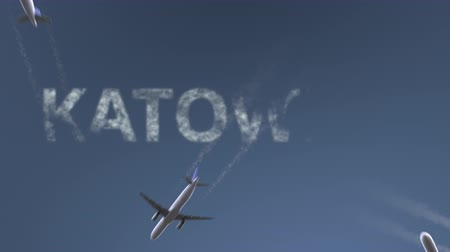 katowice : Flying airplanes reveal Katowice caption. Traveling to Poland conceptual intro animation