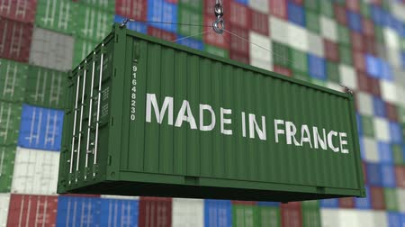 container terminal : Container with MADE IN FRANCE caption. French import or export related loopable animation