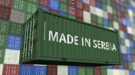 sérvia : Loading container with MADE IN SERBIA caption. Serbian import or export related loopable animation