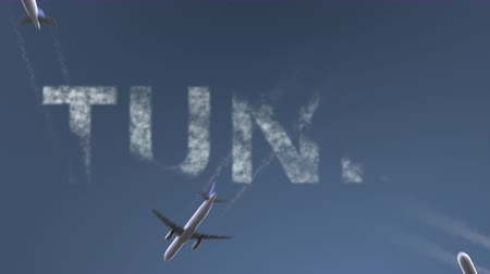 tunisia : Flying airplanes reveal Tunis caption. Traveling to Tunisia conceptual intro animation