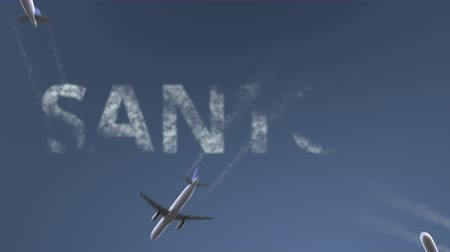 santos : Flying airplanes reveal Santos caption. Traveling to Brazil conceptual intro animation