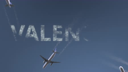 Валенсия : Flying airplanes reveal Valencia caption. Traveling conceptual intro animation