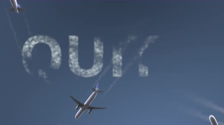 quito : Flying airplanes reveal Quito caption. Traveling to Ecuador conceptual intro animation Stock Footage