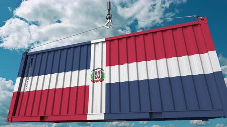dominikana : Cargo container with flag of Dominican Republic. Import or export related conceptual 3D animation Wideo
