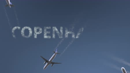 kodaň : Flying airplanes reveal Copenhagen caption. Traveling to Denmark conceptual intro animation