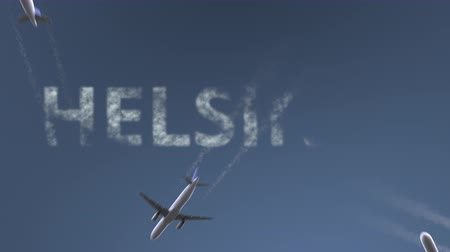 finlandiya : Flying airplanes reveal Helsinki caption. Traveling to Finland conceptual intro animation