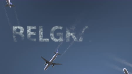 sérvia : Flying airplanes reveal Belgrade caption. Traveling to Serbia conceptual intro animation Vídeos