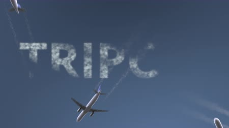 libya : Flying airplanes reveal Tripoli caption. Traveling to Libya conceptual intro animation