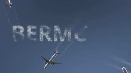 bermudas : Flying airplanes reveal Bermuda caption. Vacation travel conceptual intro animation