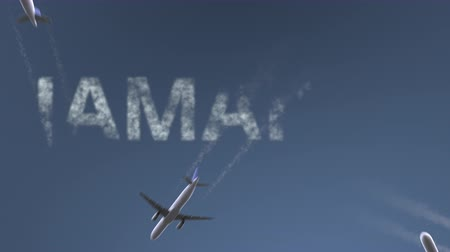 jamajka : Flying airplanes reveal Jamaica caption. Vacation travel conceptual intro animation