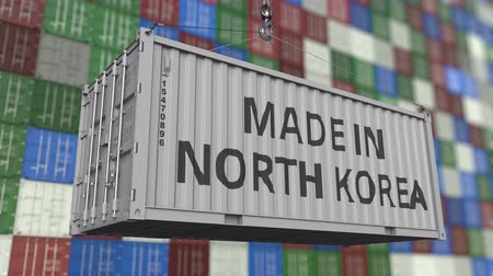 dprk : Cargo container with MADE IN NORTH KOREA caption. Korean import or export related loopable animation