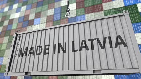 latvia : Cargo container with MADE IN LATVIA caption. Latvian import or export related loopable animation