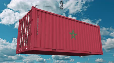 moroccan : Loading container with flag of Morocco. Moroccan import or export related conceptual 3D animation