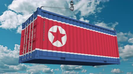 dprk : Container with flag of North Korea. Korean import or export related conceptual 3D animation Stock Footage