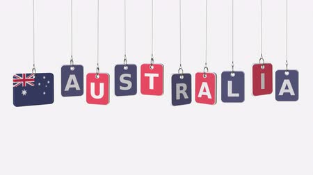 houpačka : AUSTRALIA caption and Australian flag on swinging plates, loopable intro animation. Alpha matte for easy background change