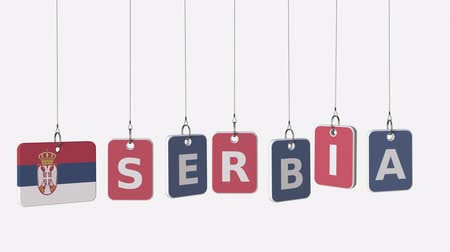 sérvia : SERBIA caption and Serbian flag on swinging plates, loopable intro animation. Alpha matte for easy background change