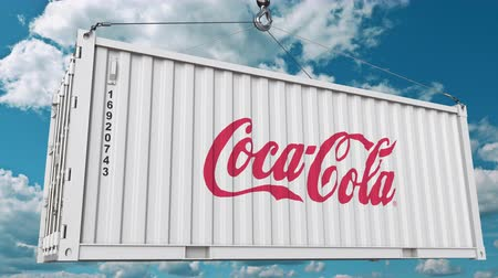cola : Coca-Cola logo on a container. Editorial animation