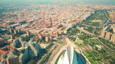genel bakış : Aerial view of Valencia, Spain Stok Video