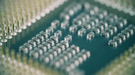 conductivity : Macro shot of CPU or central processor unit Stock Footage