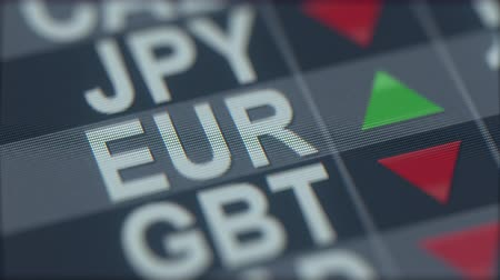 ticker : Increasing Euro exchange rate indicator on computer screen. EUR forex ticker Stock Footage