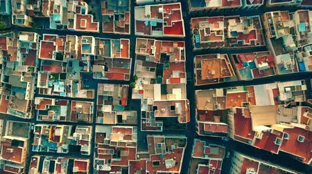 almeria : Aerial top down view to mosaic pattern of residential area roofs. Almeria, Spain