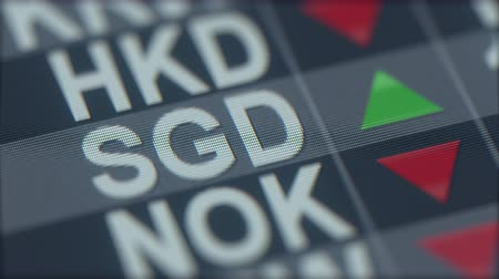 ticker : Increasing Singapore Dollar exchange rate indicator on computer screen. SGD forex ticker