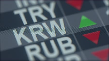 ticker : Increasing South Korean won exchange rate indicator on computer screen. KRW forex ticker