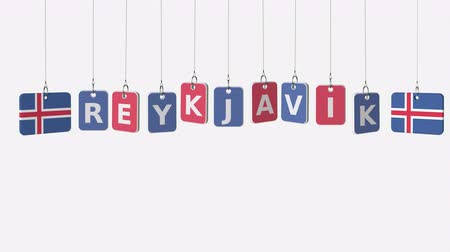 reykjavik : Hanging plates with flags of ICELAND and Reykjavik caption. Conceptual animation with alpha matte