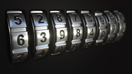 kombinasyon : Mechanichal code lock rings stop rotation at word PASSWORD. Secret or security related conceptual animation