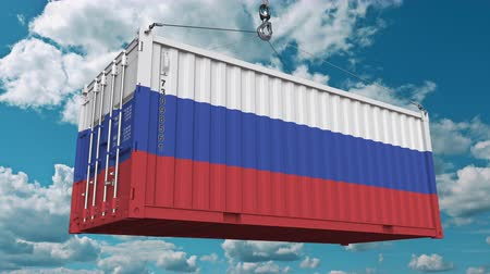 federation : Container with flag of Russia. Russian import or export related conceptual 3D animation