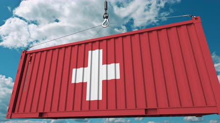 hurtownia : Container with flag of Switzerland. Swiss import or export related conceptual 3D animation
