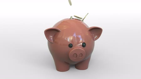 monety : Coins fall into piggy bank while some remain outside. Bad savings or money wasting related conceptual animation