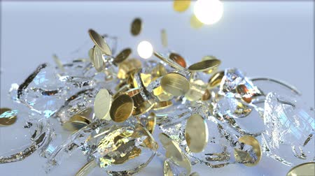 průhlednost : Breaking glass piggy bank full of coins. Crisis related conceptual 3D animation