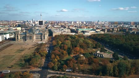 bundestag : Aerial view of Berlin centre involving main landmarks: the Reichstag building, the TV tower and the Brandenburg Gate