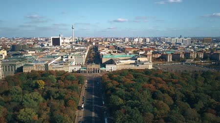 tv tower : Aerial view of Berlin cityscape involving famous Brandenburg Gate and TV tower. Germany Stock Footage