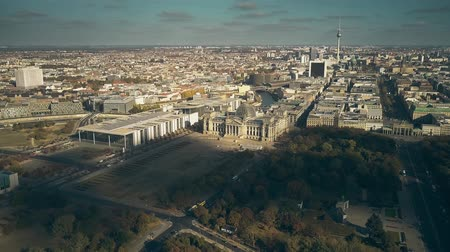 bundestag : Aerial view of the Reichstag building and Berlin cityscape, Germany