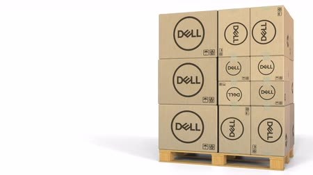 raklap : Boxes with Dell logo on pallet. Editorial 3D animation Stock mozgókép