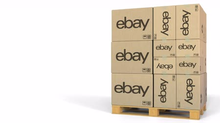 ebay : Ebay logo on cartons on pallet. Editorial 3D animation Stock Footage
