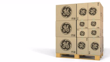 general electric : Many cartons with General Electric GE logo. Editorial 3D animation