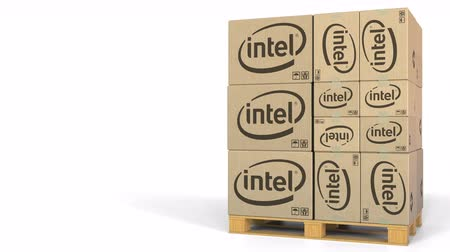 intel : Stack of boxes with Intel logo. Editorial 3D animation Stock Footage