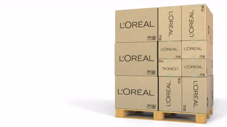 stacks : Boxes with LOreal logo on warehouse pallet. Editorial 3D animation