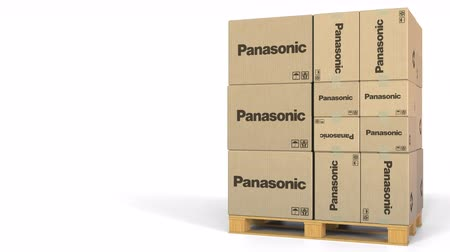 palety : Boxes with Panasonic logo on pallet. Editorial 3D animation