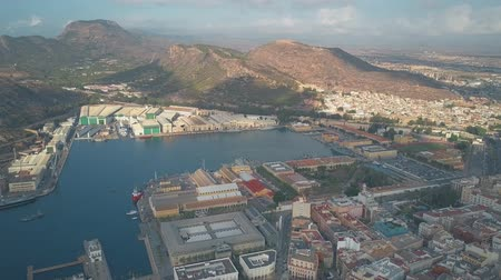 tersane : CARTAGENA, SPAIN - SEPTEMBER 25, 2018. Aerial view of Navantia shipyard and military ships